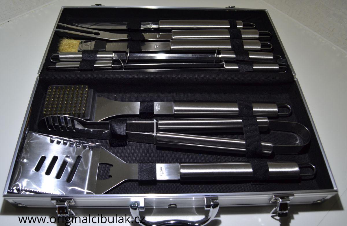 grilovací barbeque náčiní souprava 10 díl kovový kufr Berndorf Collini