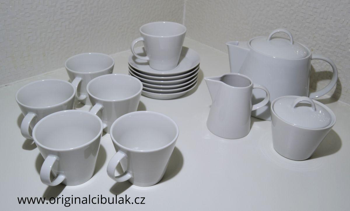 čajová souprava Tom bílý porcelán Thun a.s. 6 osob 15 dílů český porcelán Nová Role