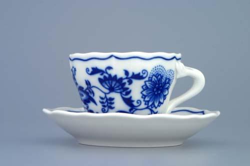 šálek a podšálek 0,08 l cibulák originál Dubí český porcelán A + A dva díly 2.jakost