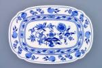 Cibulák mísa plochá hranatá 28 cm originální cibulákový porcelán Dubí, cibulový vzor,