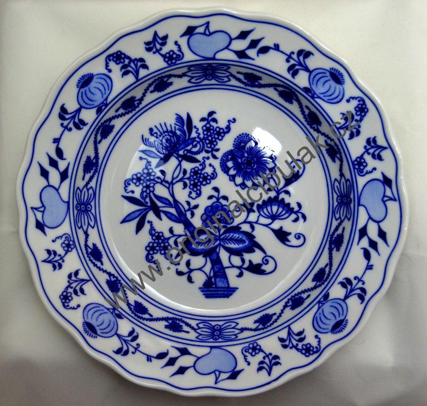 Talíř cibulák hluboký 24 cm Akce-19%, originální cibulákový porcelán Dubí 1.jakost, cibulový vzor