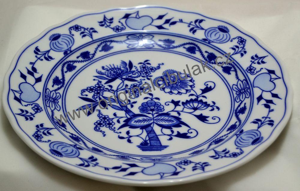 Talíř cibulák Akce - 18% mělký 24cm originál cibulákový vzor, cibulový porcelán Dubí-1.jakost
