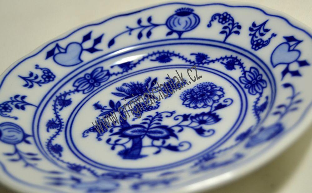 Cibulový porcelán, talíř dezertní 13 cm - originální cibulák, cibulákový vzor z Dubí 1.jakost