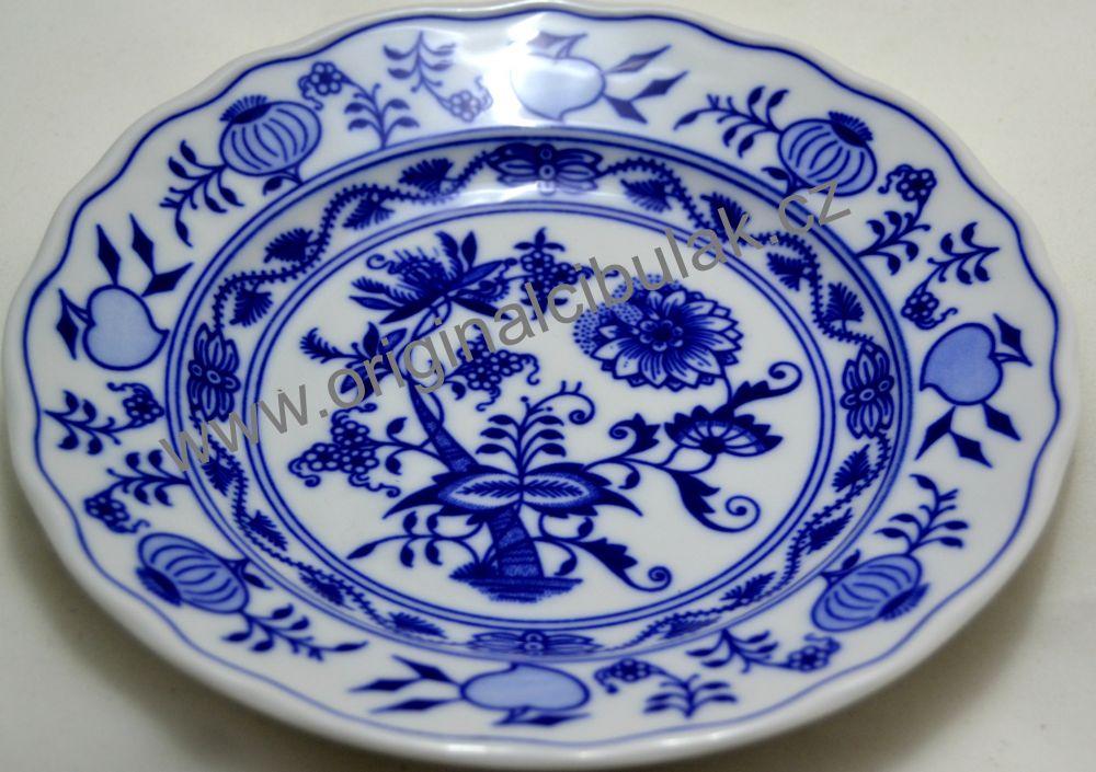 Cibulákový porcelán talíř dezertní 17 cm - originální cibulák, cibulový porcelán Dubí 1.jakost