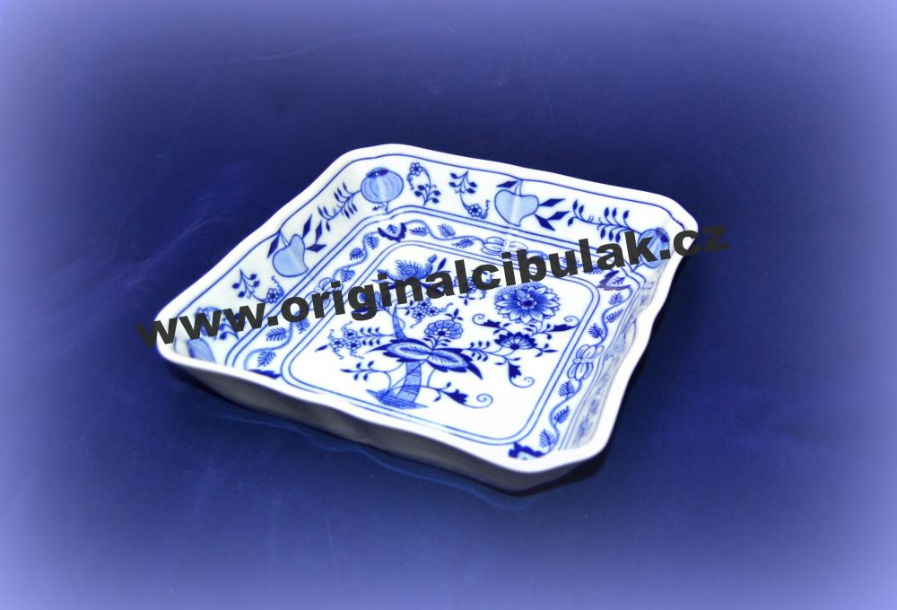 Cibulák mísa salátová čtyřhranná 21 cm originální cibulákový porcelán Dubí, cibulový vzor, 1.jakost