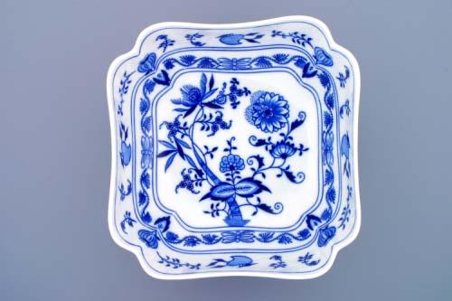 Cibulák mísa salátová čtyřhranná vysoká 24 cm originální cibulákový porcelán Dubí, cibulový vzor, 1.jakost