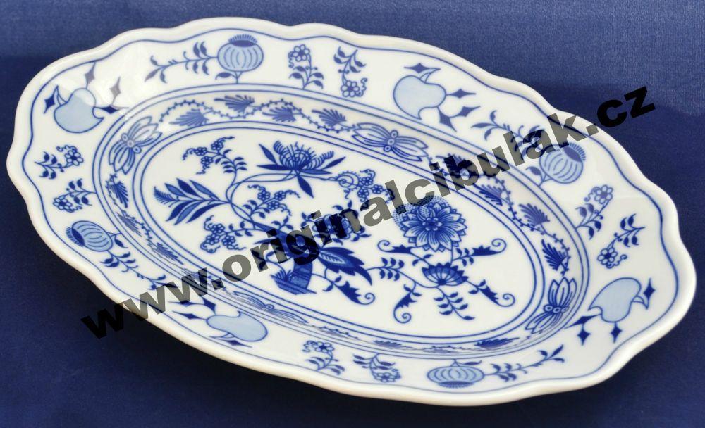 Cibulák mísa oválná 28 cm, originální cibulákový porcelán Dubí, cibulový vzor, 1.jakost