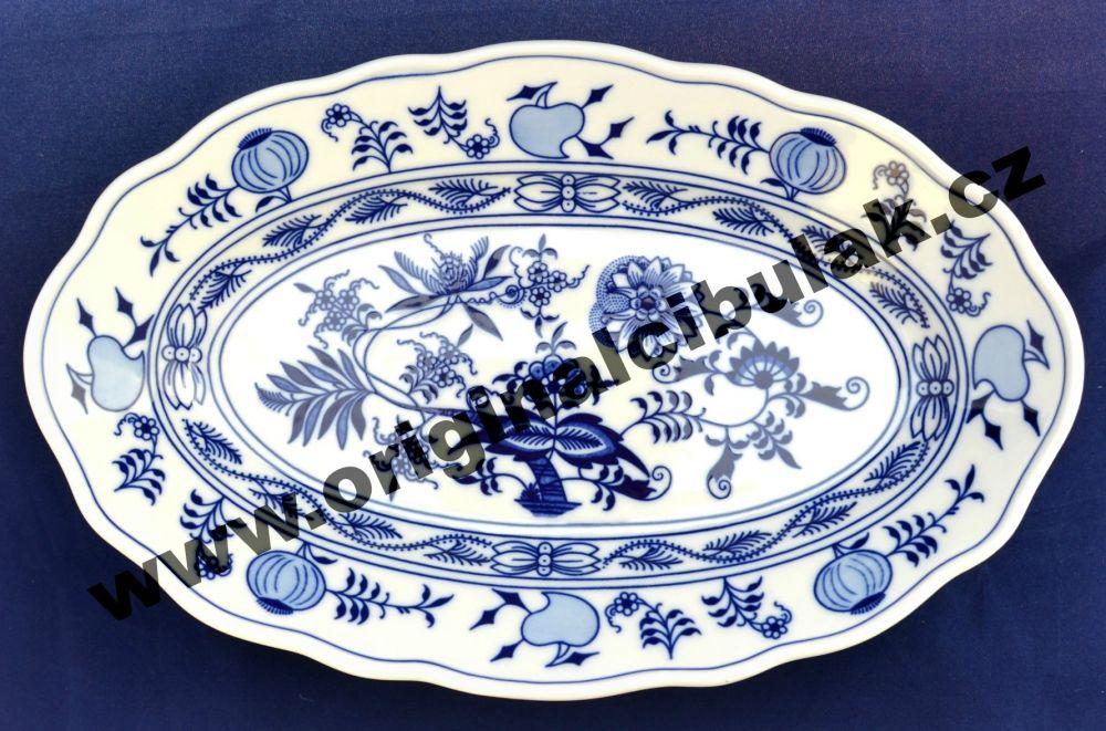 Cibulák mísa oválná 31 cm, originální cibulákový porcelán Dubí, cibulový vzor, 1.jakost