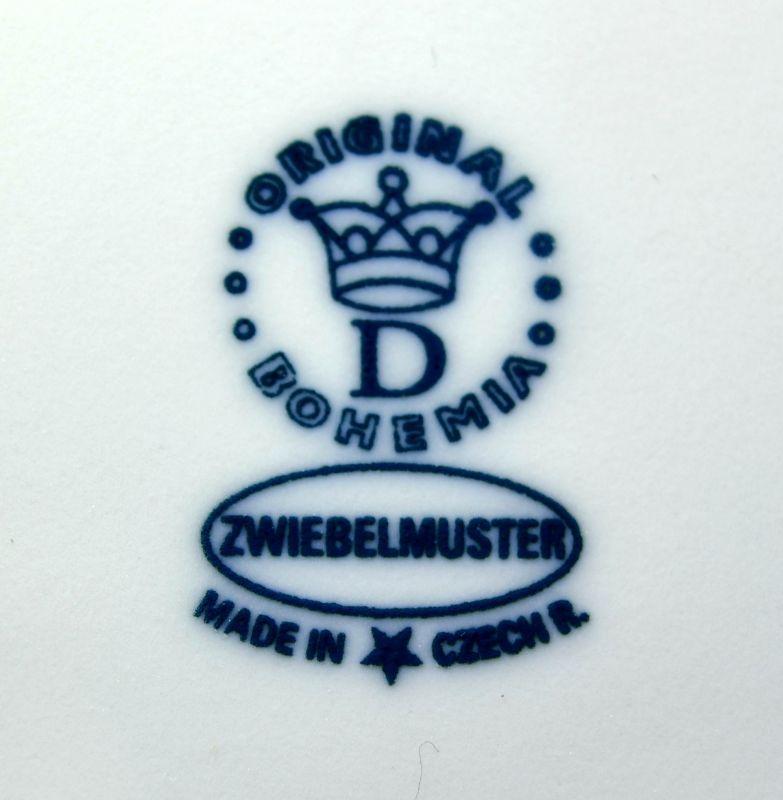Cibulák omáčník oválný bez podstavce s uchem 0,05 l originální cibulákový porcelán Dubí, cibulový vzor, 1.jakost