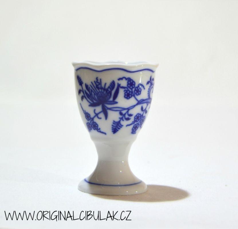 Cibulák kalíšek na vejce bez podstavce originální cibulákový porcelán Dubí, cibulový vzor, 1.jakost