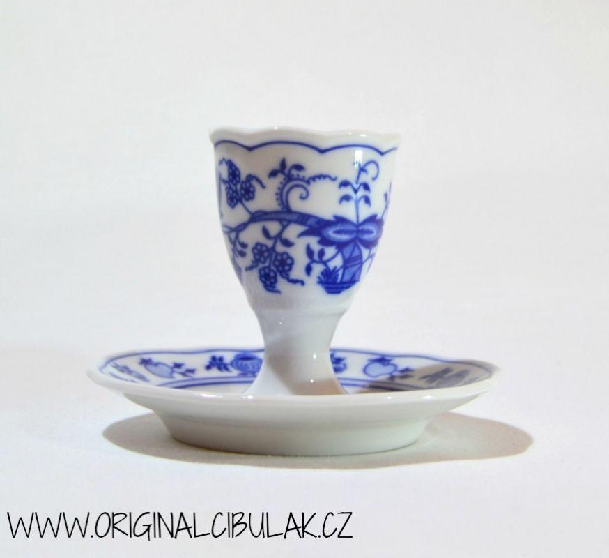 Cibulák kalíšek na vejce s podstavcem 10 cm originální cibulákový porcelán Dubí, cibulový vzor, 1.jakost