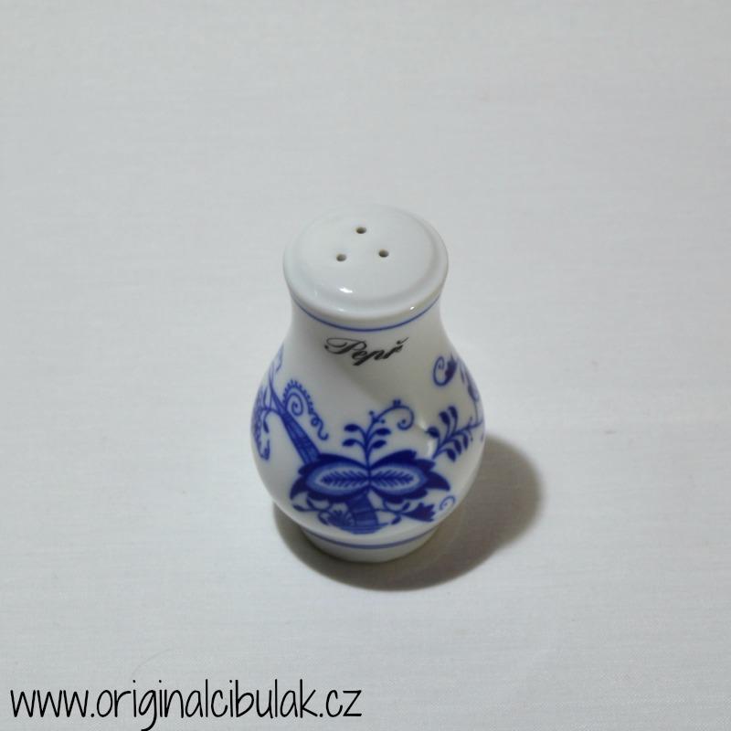Cibulák pepřenka sypací s nápisem Pepř 5 cm , originální cibulákový porcelán Dubí, cibulový vzor, 1.jakost
