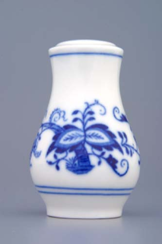 Cibulák slánka sypací bez nápisu, Ø 5 cm, originální cibulákový porcelán Dubí, cibulový vzor, 1.jakost