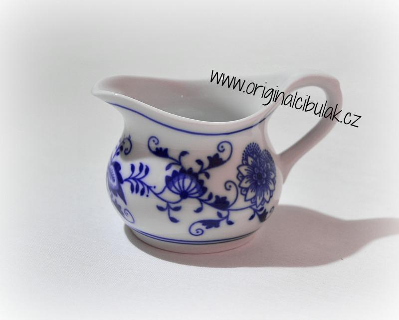 Cibulák konvička na šťávu 0,10 l originální cibulákový porcelán Dubí, cibulový vzor, 1.jakost