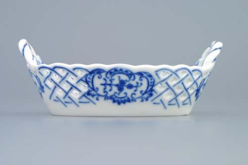 Cibulák košík prolamovaný 12 cm originální cibulákový porcelán Dubí, cibulový vzor, 1.jakost