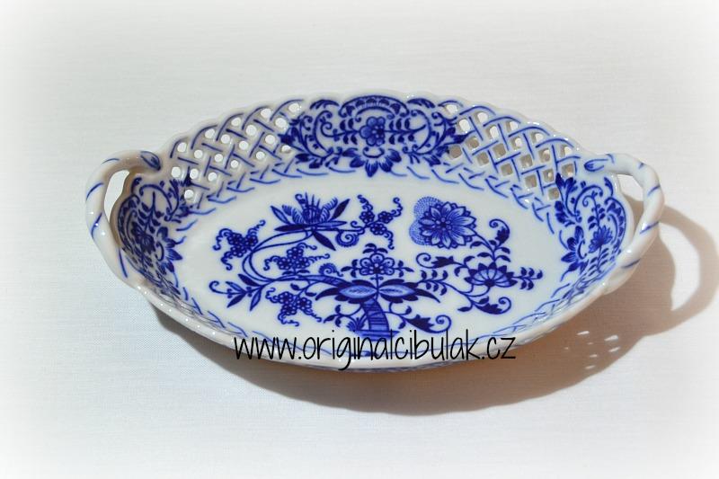 Cibulák košík prolamovaný 17 cm, originální cibulákový porcelán Dubí, cibulový vzor, 1. jakost