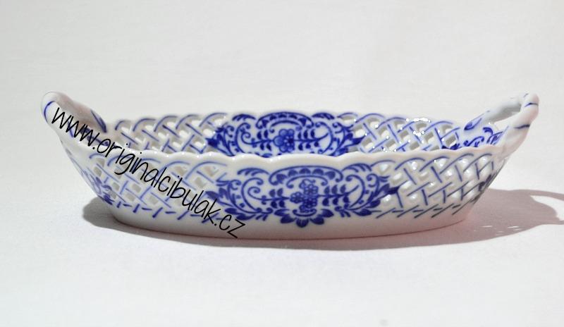 Akce -5% Cibulák košík prolamovaný 17 cm, originální cibulákový porcelán Dubí, cibulový vzor, 1. jakost