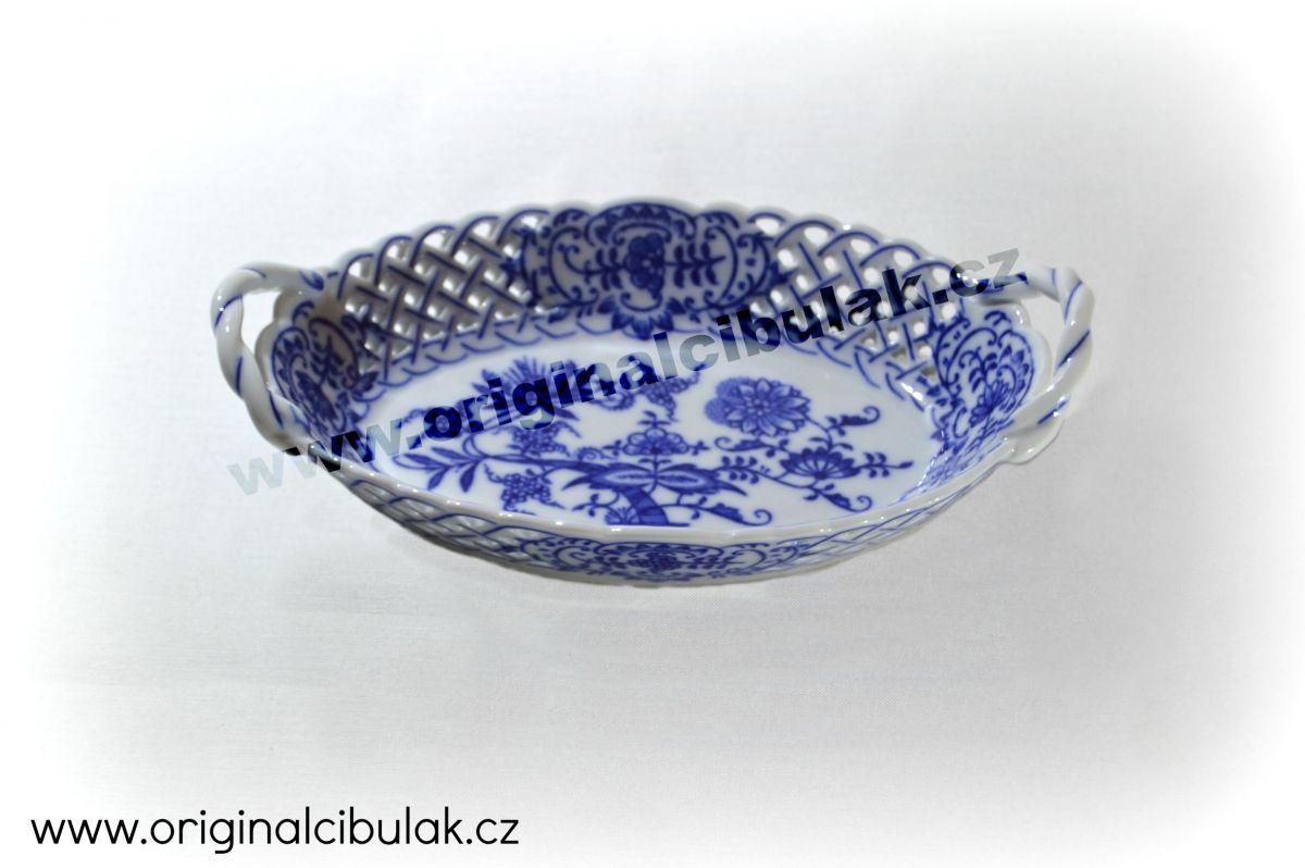 Cibulák košík prolamovaný 19 cm originální cibulákový porcelán Dubí, cibulový vzor, 1.jakost