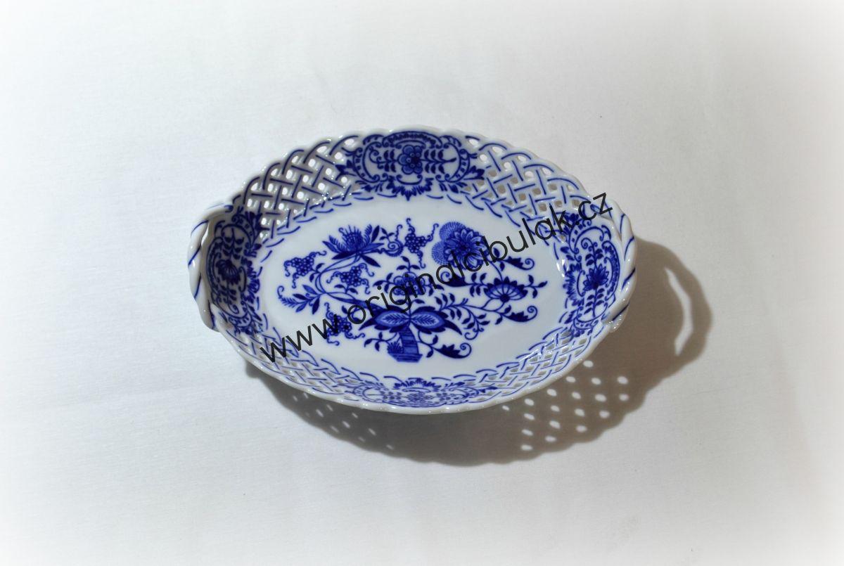Cibulák košík prolamovaný 21 cm originální cibulákový porcelán Dubí, cibulový vzor, 1.jakost