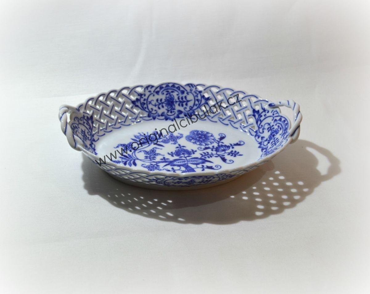 Cibulák košík prolamovaný 24 cm originální cibulákový porcelán Dubí, cibulový vzor, 1.jakost