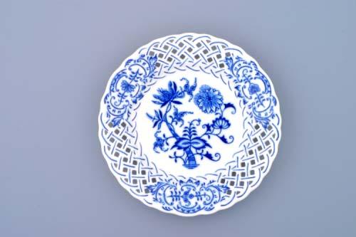 Cibulák talíř prolamovaný 15 cm originální cibulákový porcelán Dubí, cibulový vzor, 1.jakost