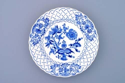 Cibulák talíř reliéfní 18 cm originální cibulákový porcelán Dubí, cibulový vzor, 1.jakost