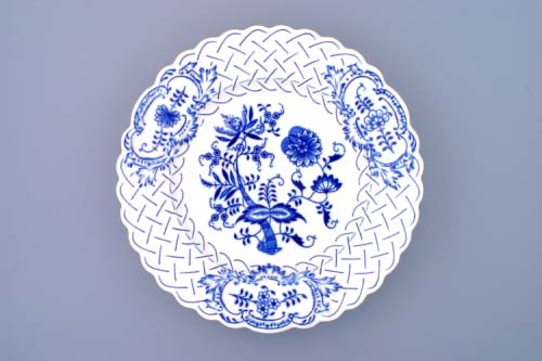 Cibulák talíř reliéfní 27 cm originální cibulákový porcelán Dubí, cibulový vzor, 1.jakost