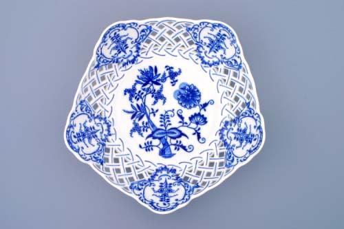 Cibulák mísa pětihranná prolamovaná 24 cm originální cibulákový porcelán Dubí, cibulový vzor, 1.jakost