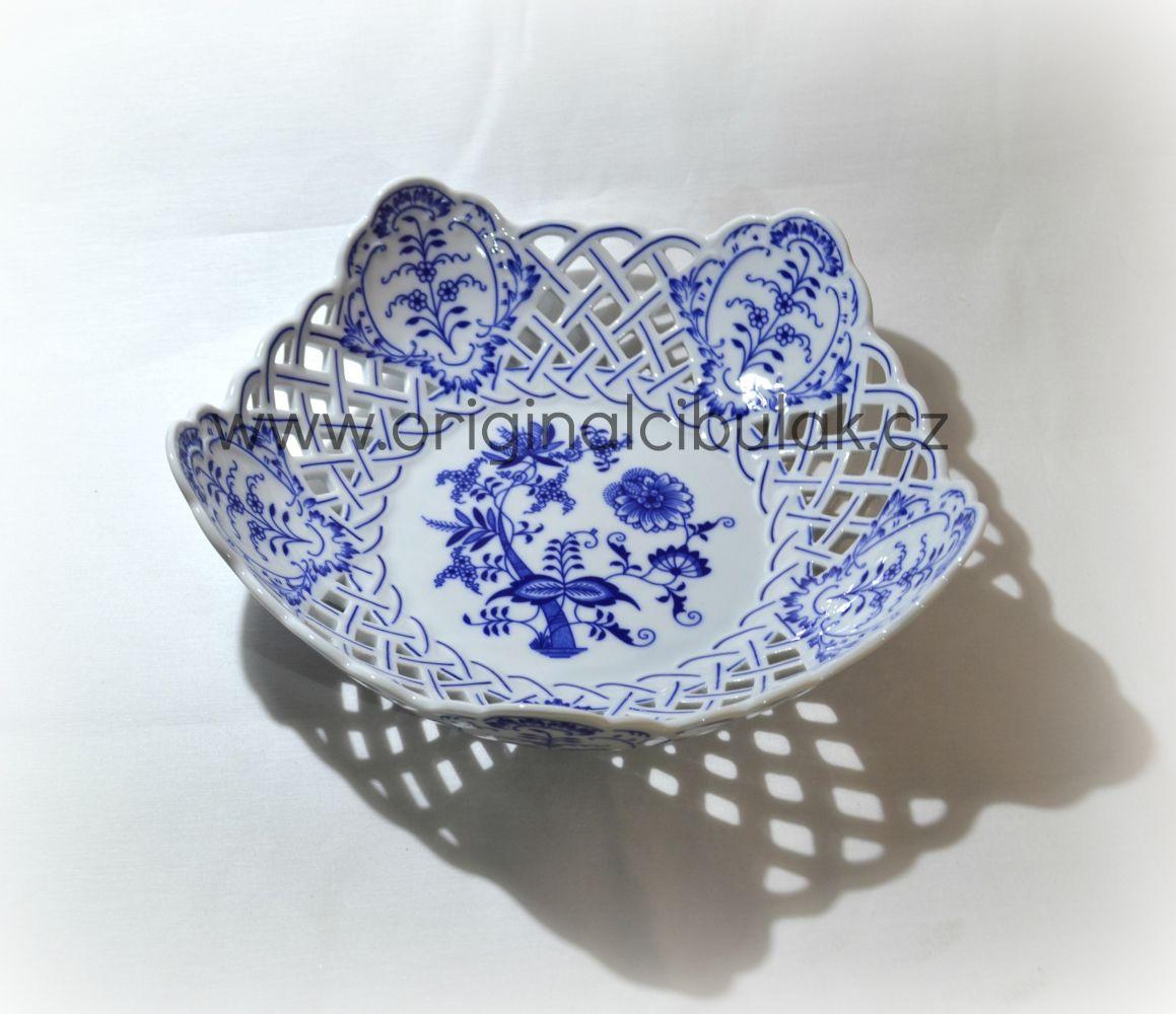 Cibulák mísa pětihranná prolamovaná 28 cm originální cibulákový porcelán Dubí, cibulový vzor, 1.jakost