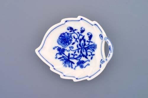 Cibulák mísa list mini 8 cm originální cibulákový porcelán Dubí, cibulový vzor, 1.jakost