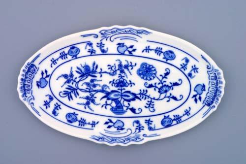 Cibulák podnos oválný mini 20 cm originální cibulákový porcelán Dubí, cibulový vzor, 1.jakost