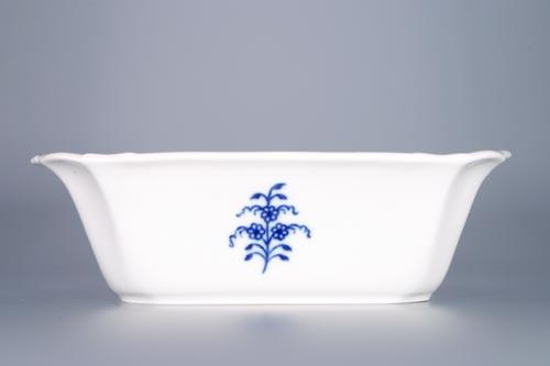 Cibulák mísa čtyřhranná s prolamovanými uchy 19 cm originální cibulákový porcelán Dubí, cibulový vzor, 1.jakost