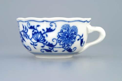 Cibulák šálek nízký C/2 0,11 l originální cibulákový porcelán Dubí, cibulový vzor, 1.jakost