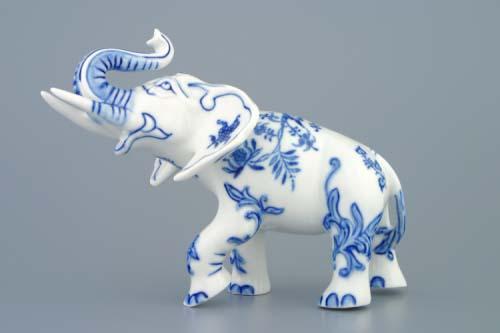 Cibulák slon II bohatá dekorace 18 cm originální cibulákový porcelán Dubí, cibulový vzor, 1.jakost