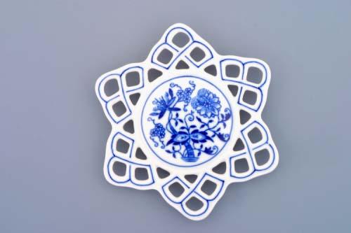 Cibulák vánoční ozdoba vločka 10,4 cm originální cibulákový porcelán Dubí, cibulový vzor, 1.jakost