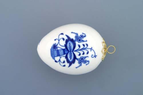 Cibulák velikonoční vajíčko závěsné 7,5 cm originální cibulákový porcelán Dubí, cibulový vzor, 1.jakost