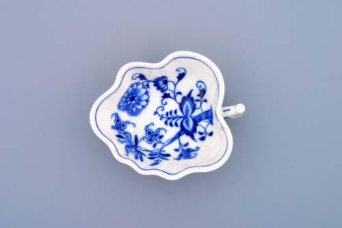 Cibulák cukřenka list 10,8 cm originální cibulákový porcelán Dubí, cibulový vzor, 1.jakost