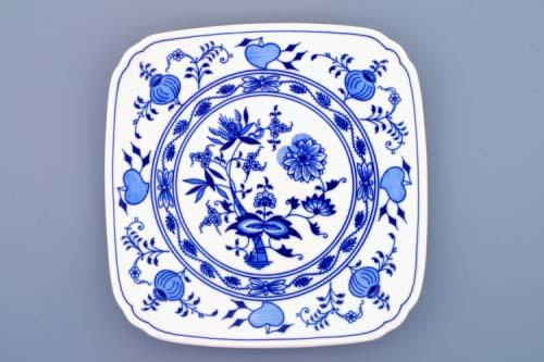 Cibulák talíř hranatý 21 cm originální cibulákový porcelán Dubí, cibulový vzor, 1.jakost