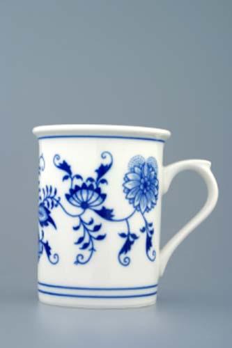 Cibulák kalíšek toaletní s ouškem 0,25 l originální cibulákový porcelán Dubí, cibulový vzor, 1.jakost