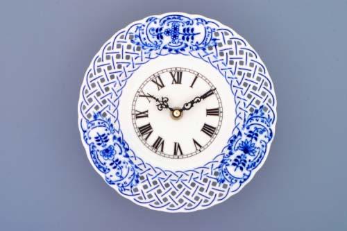 Cibulák Hodiny prolamované se strojkem 18 cm originální cibulákový porcelán Dubí, cibulový vzor, 1.jakost