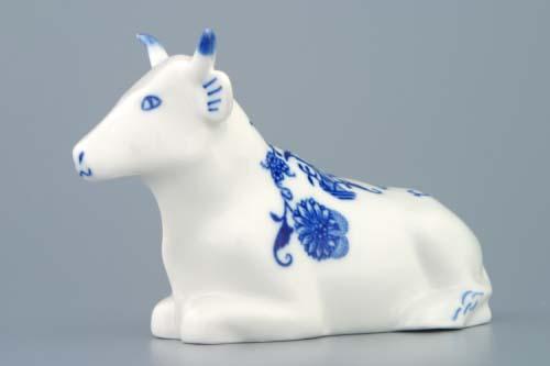 Cibulák kravička ležící 17 cm originální cibulákový porcelán Dubí, cibulový vzor, 1.jakost