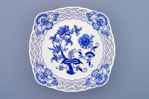 Cibulák Mísa čtyřhranná prolamovaná 21 cm originální cibulákový porcelán Dubí, cibulový vzor, 1.jakost
