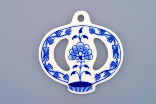 Akce - 20 % Cibuláková vánoční ozdoba jablíčko 8 cm cibulový porcelán, originální cibulák Dubí 1. jakost