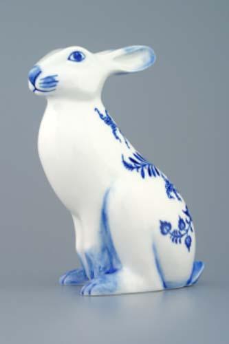 Cibulák zajíc sedící 17 cm originální cibulákový porcelán Dubí, cibulový vzor, 1.jakost