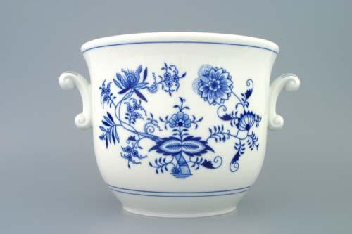 Cibulák květináč s uchy bez nožky 22 cm originální cibulákový porcelán Dubí, cibulový vzor, 1.jakost