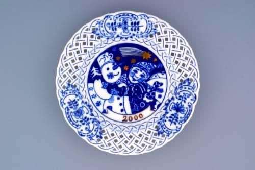 Cibulák Talíř výroční 2000 závěsný prolamovaný 18 cm , originální cibulákový porcelán Dubí, cibulový vzor, 1.jakost