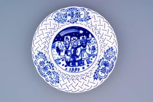 Cibulák talíř výroční 1997 závěsný reliéfní 18 cm originální cibulákový porcelán Dubí, cibulový vzor, 1.jakost