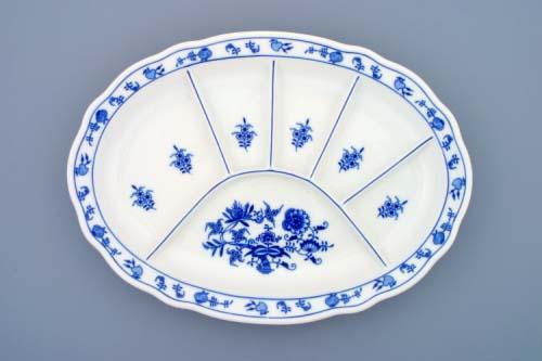 Cibulák Talíř dělený 35 cm originální cibulákový porcelán Dubí , cibulový vzor, 1. jakost