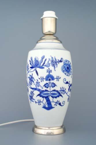 Cibulák Lampový podstavec váza 1211 s monturou 27 cm originální cibulákový porcelán Dubí , cibulový vzor, 1. jakost