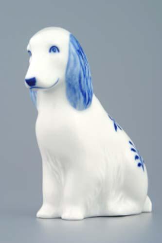 Cibulák Pes sedící 10 cm originální cibulákový porcelán Dubí, cibulový vzor, 1.jakost
